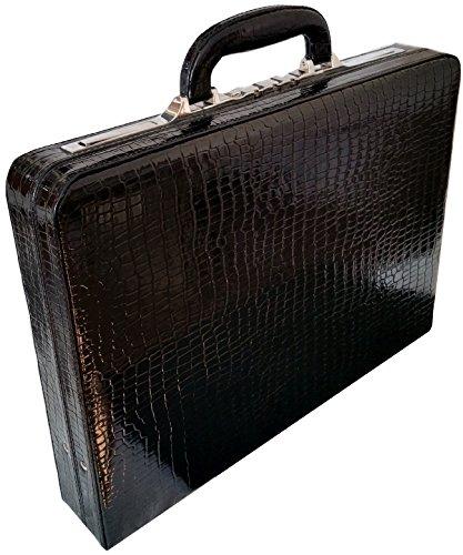 Echtes Leder Croc Finish Unisex Slimline Executive Aktenkoffer Aktentasche -