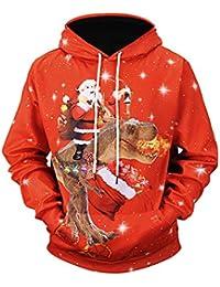 KAYLEY Man Ugly Christmas Drawstring Sweatshirt, Herren Gráfico Pullover Langarm Lustige 3D Gedruckt Xmas Pullover Pullover