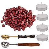 AIEX 200 Pezzi Sigillo Ceralacca Perline Kit Ceralacca Sealing Wax con 4Pezzi tè Candele e 2Pezzi Cera Fusione Cucchiaio per Timbro Ceralacca (Rosso)