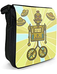 Retro Hipster Robots Small Black Canvas Shoulder Bag - Size Small