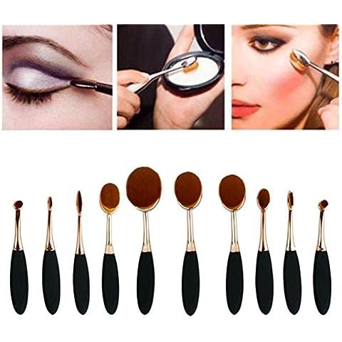 Set de Brochas de maquillaje, Oyedens 10PC / Set mini Cepillo De Dientes De La Ceja Del Lápiz De Ojos Del Labio De La Fundación Cepillos Oval