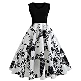 Saingace Dress for Women Girls Western, Women Vintage Sleeveless O Neck Flowers Evening