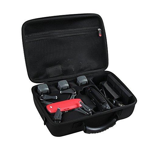 Difícil EVA Viajar Negro Caso para DJI Spark Mini dron - Encaja 3 Extra Baterías,Controlador y Cargador por Hermitshell