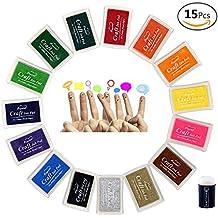JUSLIN 15 colores artesanales almohadillas de tinta para la estampilla de goma DIY Scrapbooking y tarjeta de fabricación de decoración, con esponja para colorear herramienta como regalo