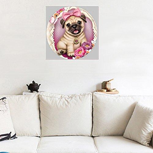 quanjucheer Süßer Hund Schleife Blume teilweise HSS-Kreuzstich Kunstharz Diamant Gemälde Art Wand 30 x 30 cm 6806 - Kreuzstich Schleife