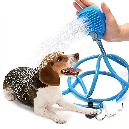LRKC Pet Bathing/Grooming Tool – Scrubbing Shower Head Attachment For Dogs, Horses, Other Animals – Indoor Faucet, Shower, and Garden Hose Compatible