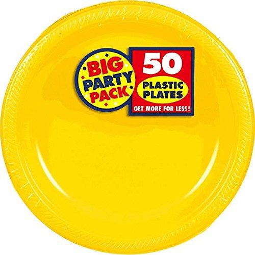 amscan-international-177-cm-paper-plates-sunshine-yellow-pack-of-50