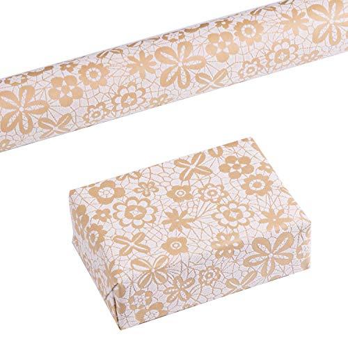 RUSPEPA Kraft Packpapier Rolle-3D Eva Schaum White Floral Puff Print Design für Hochzeit, Geburtstag, Dusche, Herzlichen Glückwunsch und Urlaub Geschenke-76 Cm X 500 Cm - Dusche Puff