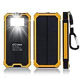 Ecandy 15000mAh Backup-Batterie Solarstrom -Ladegerät Dual USB Port, mit 8 LED-Taschenlampe Solar-Ladegerät für iPhone Samsung Galaxy S6, S6, Edge-S5, S4, S3 Handy-Tablette (gelb)