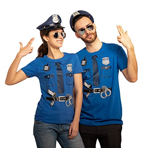 Polizei Paar Kostüm mit T-Shirts Polizeimützen und Brillen Karneval & Fasching Mann Blau Medium/Frau Blau Small