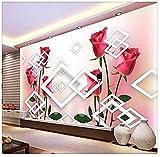Papier peint 3D Photo Mural Salon personnalisé Rose Rouge Fleur Diamant Peinture Canapé Tv Fond Non Tissé Pour Le Mur 3D Papier Peint 3D Faux Cuir Vinyle Mural-300cm×210cm