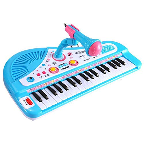 Mababys Piano Lern Spielzeug Farben Zahlen und Formen 37 Tasten Einsteckmikrofon mit Mikrofon Multifunktions Musikklavierspielzeug,Blue