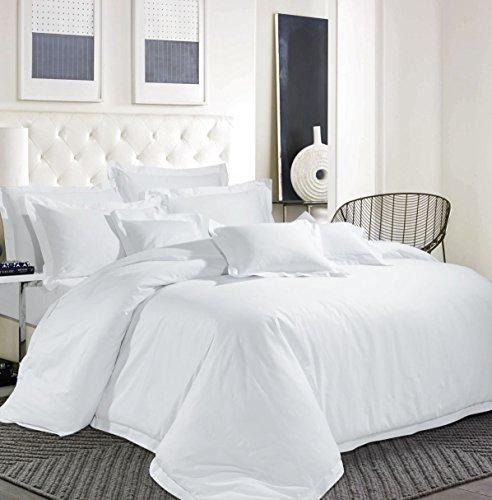 Bettwäsche-Set Ägyptische Baumwolle Fadendichte 600 TC Hotel Weiß Bettbezug massiv, weiß, Doppelbett - 600 Tc Bettwäsche Aus Ägyptischer Baumwolle