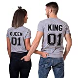 King queen shirts Partner Look Pärchen T-Shirt Set Für Pärchen als Valentinstag Geschenk (Grey-King-S+Queen-S)