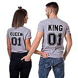 King queen shirts Partner Look Pärchen T-Shirt Set Pärchen (Grey-King-XL+Queen-XL)