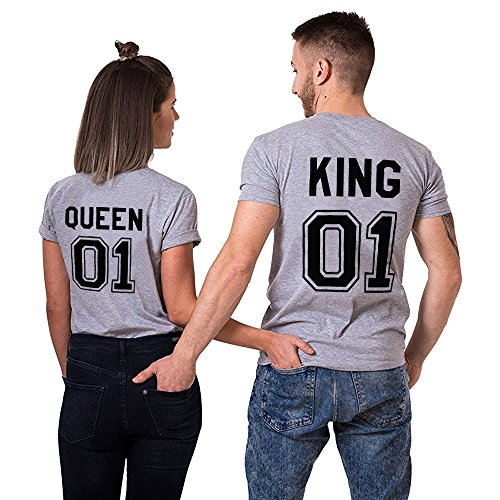 King queen shirts Partner Look Pärchen T-Shirt Set Pärchen als Valentinstag Geschenk (Grey-King-M+Queen-S)