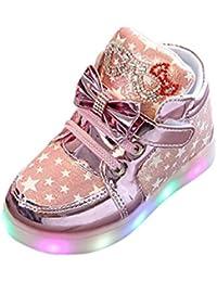 Navidad Bebé niño niña LED estrellas zapatillas con luces ,Yannerr Chica Chico luminoso colorido ligeros deporte Running llevó antideslizante zapatos engrosamiento y algodón botas