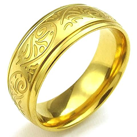 Aooaz Free Engraving Ring for Men 8MM Florentine Engraved Charm Size N 1/2 Wedding Promise Novelty