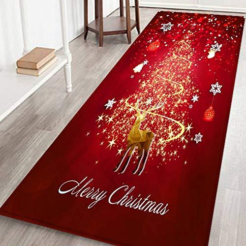 Bornbayb 3d merry christmas stampato tappetini da bagno e tappeti, tessuto di flanella antiscivolo in gomma appoggio assorbente bagno tappeto cucina tappeto piano tappeto 60 * 180 cm