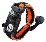 CHIRISEN 20in 1Survival Armband Survival Paracord-Armband, Survival Gear Kit mit SOS-LED-Licht, Notfall-Pfeife, Kompass, Feuerzeug für Camping, Klettern, wasserdicht (orange)