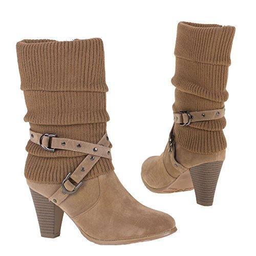 High Heel Stiefeletten Damenschuhe High Heel Stiefeletten Pfennig-/Stilettoabsatz High Heels Reißverschluss Ital-Design Stiefeletten Hellbraun
