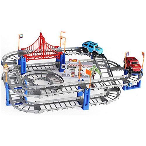 AOLVO Rennstrecke Train Tracks Auto Spielzeug für Jungen, 73 Stück Flexible Tracks Playset mit Einem Spielzeug Auto, Gebäude Spielset Geschenke für Kinder Jungen Mädchen Kleinkind - Gebäude Junge Spielzeug