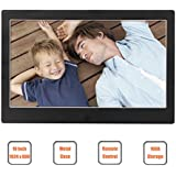 Digital Photo Frame 10 Inch 1024x600 High Resolution Screen Digital Picture Frame Metal Case with 16GB Memory and IR Remoter (Claasic Black)