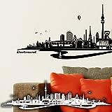 WANDKINGS Wandtattoo Skyline Dortmund mit Fluss 140 x 36 cm - Schwarz - 35 Farben zur Wahl