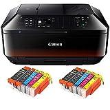 Canon Pixma MX725 MX-725 All-in-One Farbtintenstrahl-Multifunktionsgerät (Drucker, Scanner, Kopierer, Fax, USB, WLAN, LAN, Apple AirPrint) Schwarz + 10er Set IC-Office XL Tintenpatronen 550XL 551XL (Originalpatronen nicht im Lieferumfang)