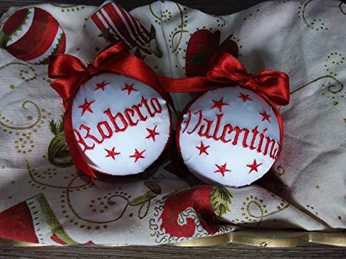 Crociedelizie pallina di Natale personalizzata 8 cm nome ricamato decorazione natalizia personalizzabile blu e lurex argento idea regalo