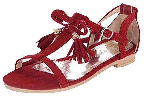 Quaste Damen Sandalen Rot