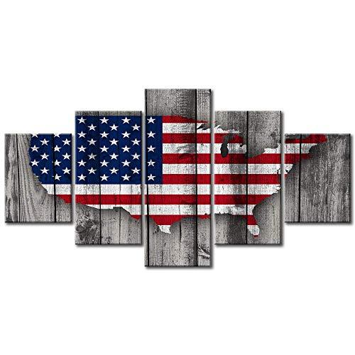 lglays Retro USA amerikanische Flagge US Karte militärische Leinwand Wand Kunst Vintage dünne Blaue Linie Home Decor Bilder großes Plakat-40x60x2 40x80x2 40x100x1 (Große Us-karte)