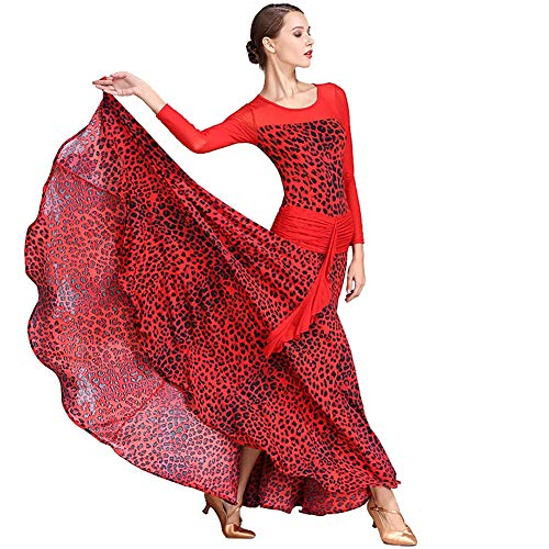 XHTW&B Damen Tanzen Rock Kleider Flexibel Bühne Kostüme Rezension Schiedsrichter Elegant Party Wettbewerb Kleid,Red,S (Damen Schiedsrichter Kostüm)
