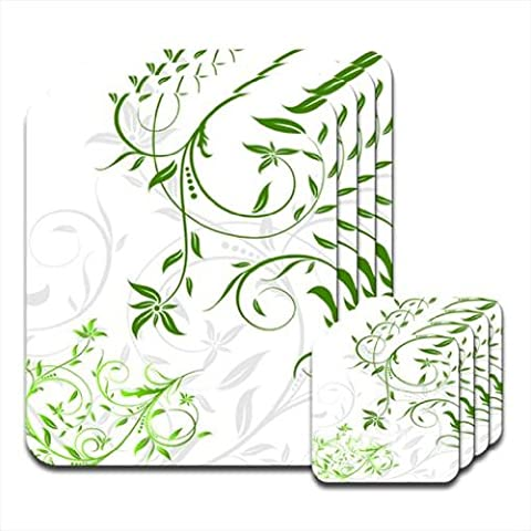 Fresh & Green Floral Set of 4 Placemat & Coasters