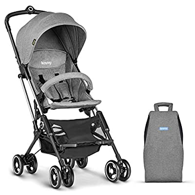 Besrey Lightweight Stroller Buggy Pushchair with Canopy, Travel Buggy EasyOne-Hand Fold, Grey/Blue/Red