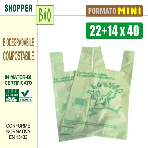 N. 500 SACCHETTI SHOPPERS BIODEGRADABILI COMPOSTABILI NORMA EN13432 - CM 22+14x40