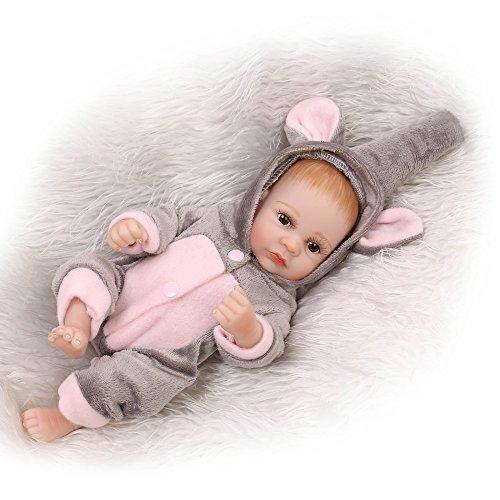 Decdeal - Reborn Muñeco Bebé Niño de Silicona con Ropa, 10 Pulgadas 25cm (Permitido Ducha)