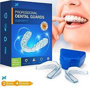 P & J Health, Zahnschutz für die Nacht, stoppt Bruxismus, kraniomandibuläre Dysfunktion und eliminiert Zähneknirschen, 4 Stück in 2 Größen