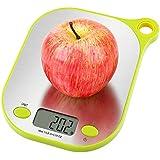 Aicok Báscula Digital para Cocina de Alimentos y líquidos con soporte para colgar pesa 11 gramos / 5 kg, báscula de cocina de acero inoxidable, Color Blanco con Verde