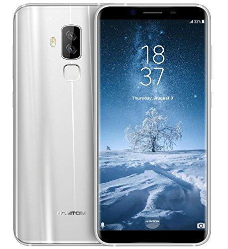 HOMTOM S8 - 5,7 Zoll (18: 9 Verhältnis Vollansicht) Android 7.0 4G Smartphone, 13MP Frontkamera + (5MP + 16MP) Dual hinten Kamera, Octa Core 1.5GHz 4GB RAM 64GB ROM, 7.9mm Ultra schlanke Metallrahmen - Silber