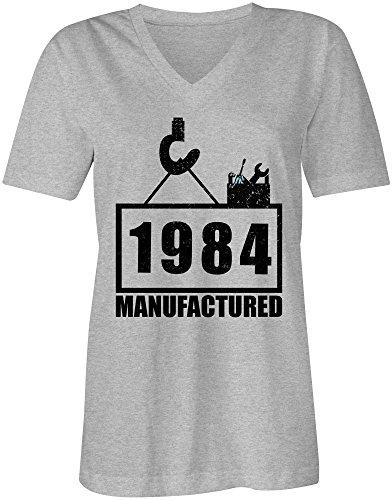 Manufactured 1984 - V-Neck T-Shirt Frauen-Damen - hochwertig bedruckt mit lustigem Spruch - Die perfekte Geschenk-Idee (05) grau-meliert