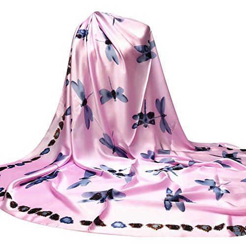 OverDose Damen Libelle Druck Hijab Schals lange Wrap Schal Damen Seide-Satin Square Schal ,A-Rosa