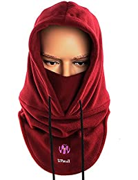 Pasamontañas, multiusos, uso térmico, forro polar con capucha, máscara, para actividades de invierno al aire libre, mujer hombre, color rojo vino, tamaño talla única