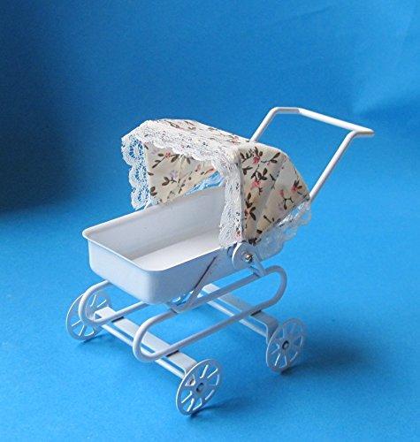Puppenwagen weiss ohne Kissen Metall Puppenhausmöbel Miniatur 1:12 -