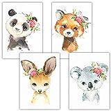 Frechdax® Lot de 4 Poster pour Chambre d'enfant - A4 Photos pour Chambre de bébé - Décoration Fille, 4er Set Blumen, Panda, Australien, A4-21x29,7cm