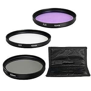 BPS 3pcs 52mm Lens Filter Set: UV Protector Filter + CPL Filter + FLD Filter for Canon EOS 700D 1200D 100D 70D 750D 5D 1100D 7D Nikon D3200 D7200 D3300 Sony A77 Alpha A58 A99 Alpha A3000 Pentax K-50 K-3 KS-1 Digital SLR Camera