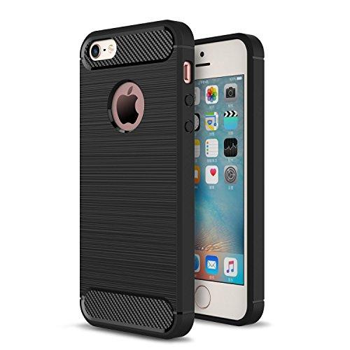 """MOONCASE iPhone 6S Coque, Fibres de Carbone Housse Resilient TPU Etui Antichoc Protection Armure Case pour iPhone 6 / 6S 4.7"""" Gris Noir"""