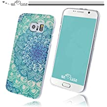 WeLoveCase Casco para Samsung Galaxy S6 Silicona TPU Suave Funda Cascara Protección Tapa Anti Polvo Absorción de Choque Gel Ligera Resistente Fina con Diseño Creativo Original de Moda Nuevamente (Samsung S6, Dibujo Flor Azul Blanco)