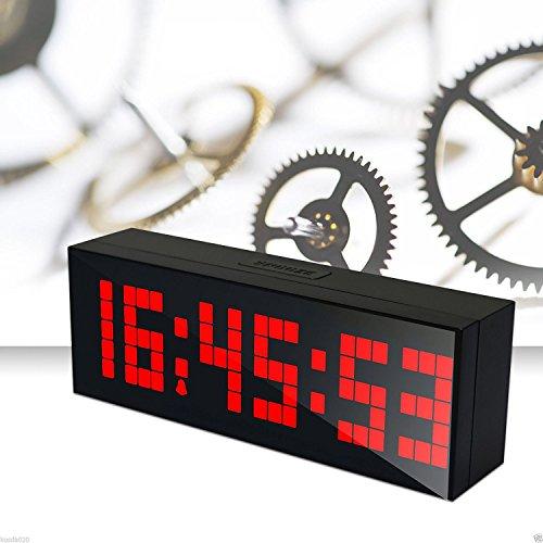 LambTown Wandmontage Desktop LED Digital Wecker mit Thermometer Kalender Nachtlicht für Schlafzimmer Wohnzimmer Rot (Digital-countdown Wanduhr)