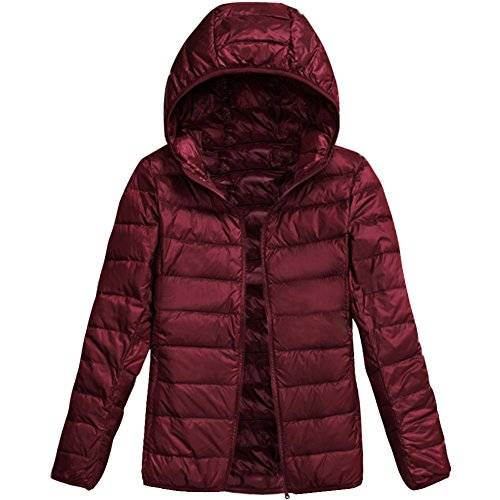 Outwear Puffer Mantel Frauen leichte verpackbare Daunenjacke Wine Red L (Jacke Puffer Mantel)